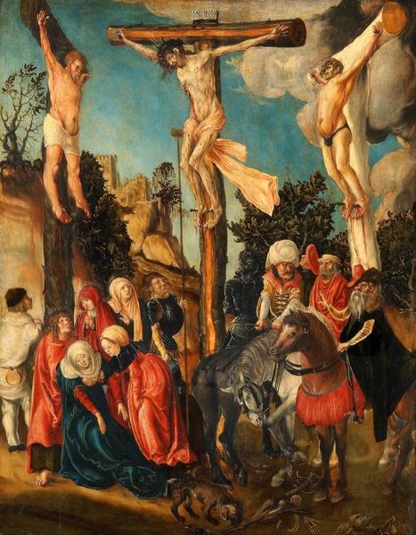 "Die Kreuzigung Christi (Bild: <a href=""https://de.wikipedia.org/wiki/Datei:Lucas_Cranach_d.%C3%84._-_Kreuzigung_Christi_(Kunsthistorisches_Museum_Wien).jpg"">Wikipedia</a>, public domain)"
